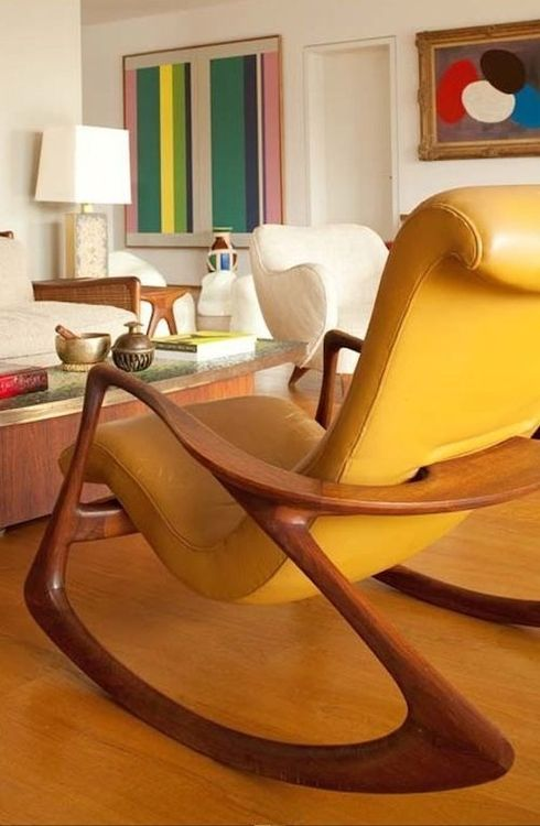 Great Yellow Leather Chair Mid Century