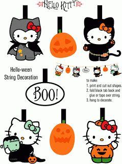 Vintage Ilustration Free Printable Hello Kitty Halloween Bunting