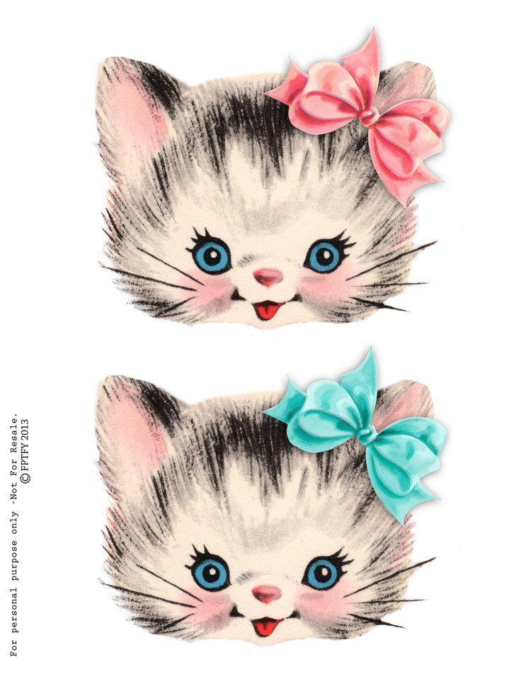 Vintage Ilustration : Free-vintage-kitty-clip art ...