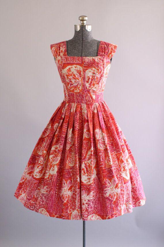 f4c47e23b793 Vintage Outfits : Vintage 1950s Dress / 50s Hawaiian Dress / Pink ...